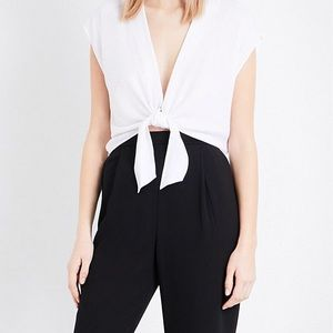 Alice + Olivia White Jenara Crepe Cropped Top, m